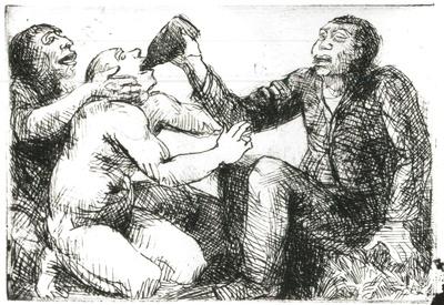 "Caliban, Stefano und Trinkolo, Illustration zu Shakespeare ""Sturm"""