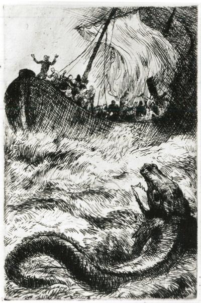 """Ariel und das Schiff, Illustration zu Shakespeare """"Sturm"""""""