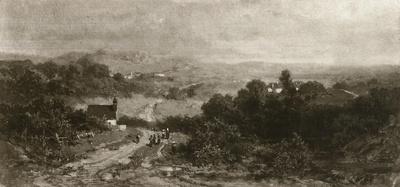 Weite Landschaft mit Wallfahrtskirchlein