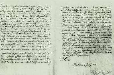 Widmungsbrief an August den Starken, französische Übersetzung