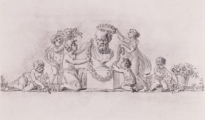 Bekränzung einer Sokratesbüste