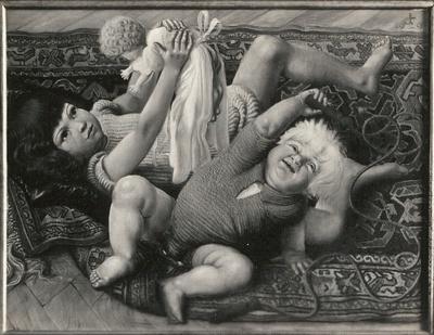 Spielende Kinder (Nelly mit Puppe und Ursus)