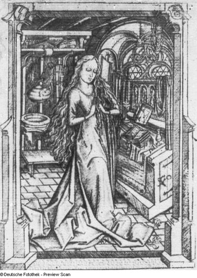 Heilige Jungfrau vor dem Hausaltar betend