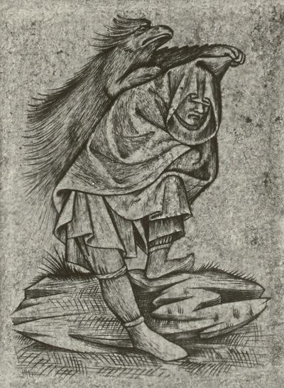 Mann mit Kapuze und Stachelschwein