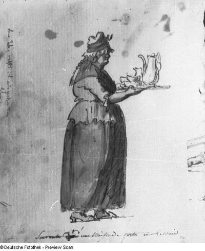 Frau mit Kaffeetablett, Livland (Servante d'une maison de poste en Livonie)