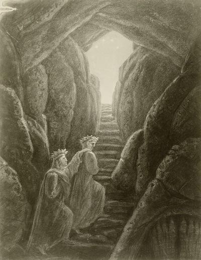 Dante und Vergil begrüßen wieder das Licht (Inferno 34)