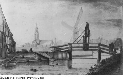Holländische Stadt mit Brücke, Kirche und Mühle