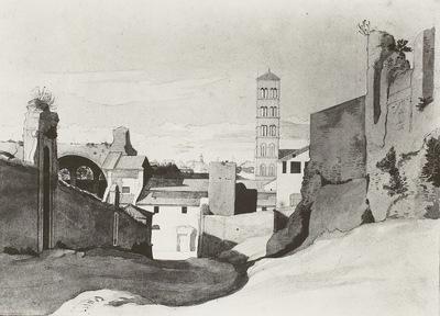 Eine Ansicht von Via St. Bonaventura auf Sa. Francesca Romana