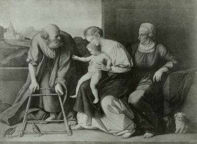 Maria mit dem Kind, auf dem Schoß ihrer Mutter Anna, Joseph hält ein Gehstühlchen für den Knaben bereit