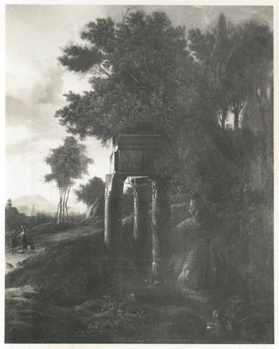 Landschaft mit antiker Ruine und hohen Bäumen
