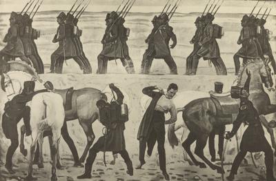 Der Auszug der deutschen Studenten in den Befreiungskrieg 1813.