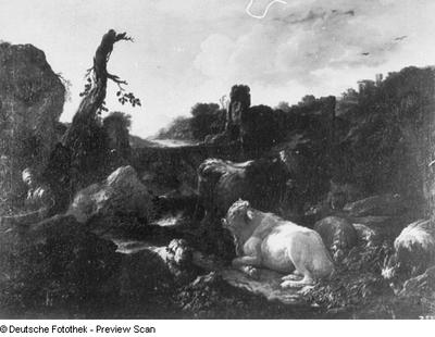 Eine Herde vor Bergen mit Ruinen