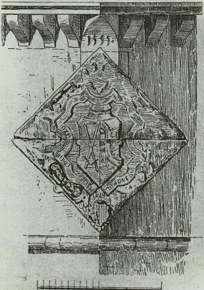 Leipzig, Moritzbastion, altes Wappen (später als Fundament der Frauenberufsschule verwendet)