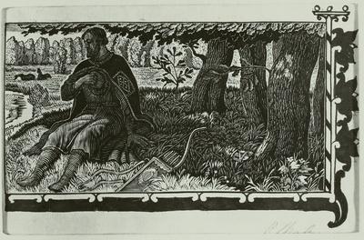 Illustration zu 'Das Lied von Igors Heerfahrt'. Igor spricht mit dem Fluß