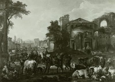 Römischer Viehmarkt mit einer Bettlergruppe