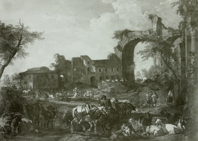 Römischer Viehmarkt mit einem gemüsetragenden Schimmel