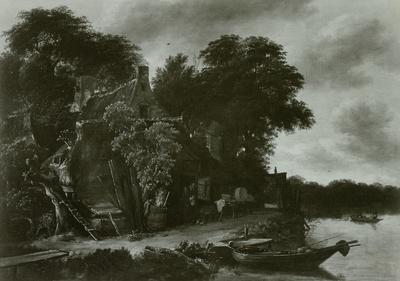 Hütten unter Bäumen am Wasser
