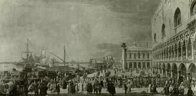 Die Riva degli Schievoni zu Venedig mit dem Empfang des kaiserlichen Gesandten Graf Collored
