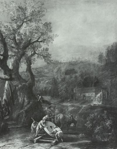 Landschaft mit dem Mühlstein