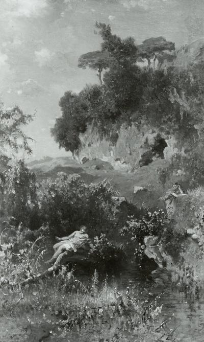 Landschaft mit Weiher