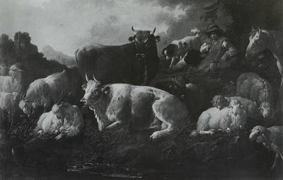 Ein ruhender Hirt mit seiner Herde