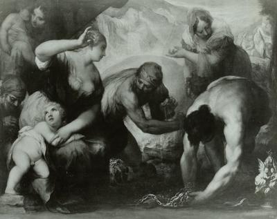 Die Israeliten, ihren Schmuck für den Guß des Goldenen Kalbes zusammentragend