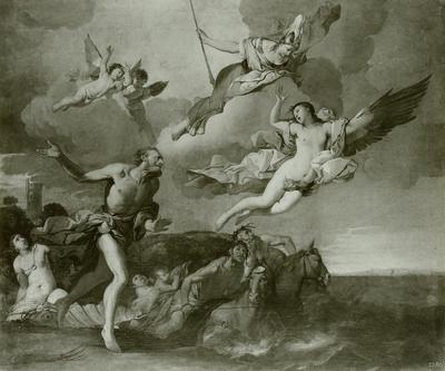 Coronis, von Neptun verfolgt, wird in eine Krähe verwandelt