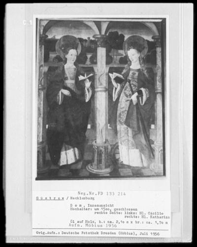 Rechter Flügel: Die heilige Cäcilie und die heilige Katharina