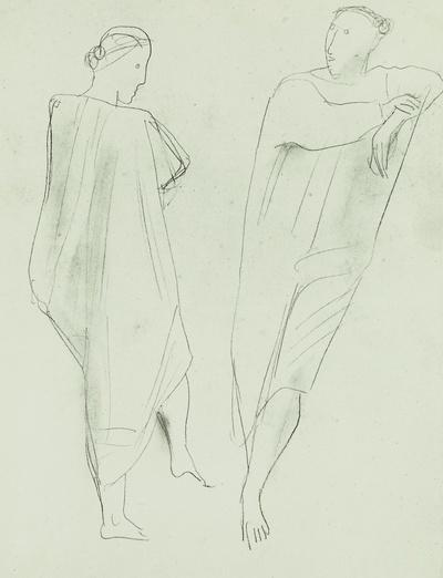 Figurenstudien (eine weibliche und eine Männergestalt in hemdartigen Gewändern)