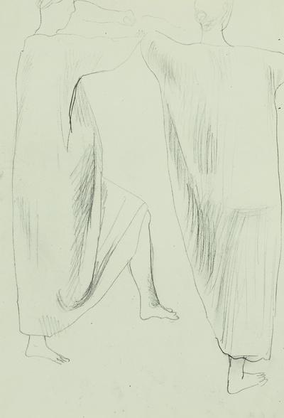 Gewandstudie (zwei weibliche Figuren in langen Gewändern)