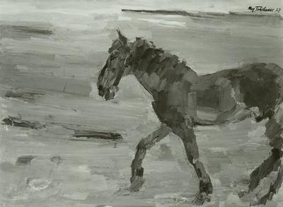 Pferd, nach links schreitend
