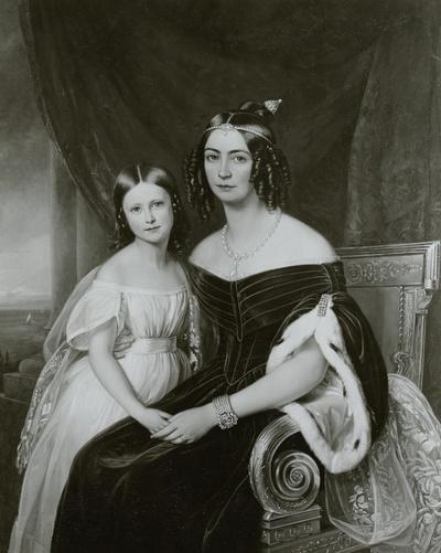 Amelie, Kaiserin von Brasilien mit ihrer Tochter Marie Amelie