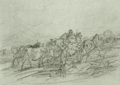 Heimkehrender Bauernwagen, dem zwei Kühe folgen