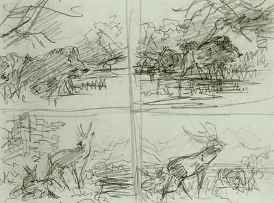 Vier Tierstücke; oben zwei Eber, unten zwei Hirsche
