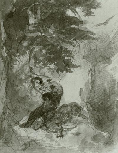 Im Wald. Bär und erbeuteter Hirsch unter einem Baum