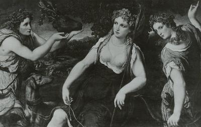 Diana als Jägerin zwischen ihren Nymphen