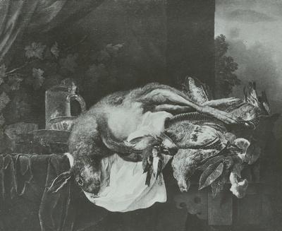 Stilleben mit einem Hasen, Porzellanschüsseln und roter Decke