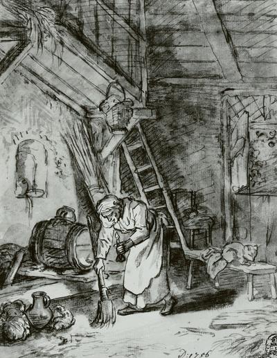 Innenraum mit alter Frau mit Licht und Besen