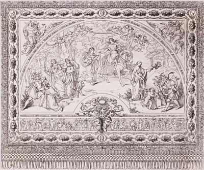 Entwurf zum Theatervorhang der ersten Semper-Oper in Dresden