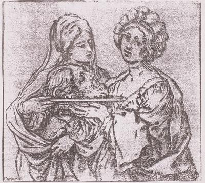 Herodias und eine ihrer Frauen mit dem Kopf des Johannes