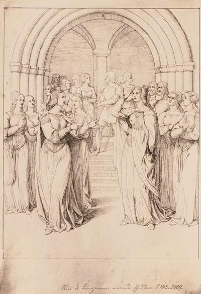 """""""Wie die Kuniginnen einander schulten"""" (Nibelungenlied) vor dem Domportal in Worms"""