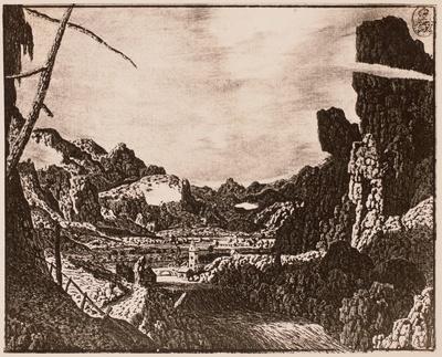 Fluß mit Brücke und Kirche in weitem Talkessel zwischen Felskulissen