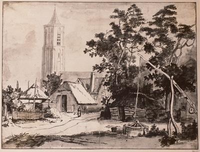 Dorf mit Ziehbrunnen und Kirchturm