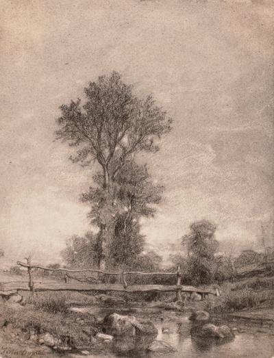 Landschaft mit Bach und Brücke
