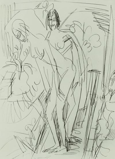 Zwei nackte Frauen im Zimmer