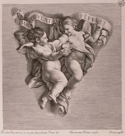 """Zwei Engel mit Schriftband: """"Immaculatam Peperit"""""""