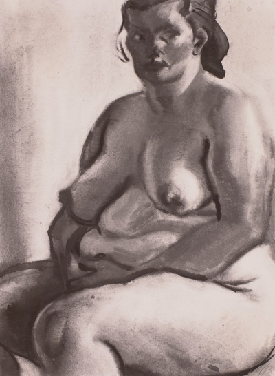 Sitzender weiblicher Akt die Hände um den Leib gelegt
