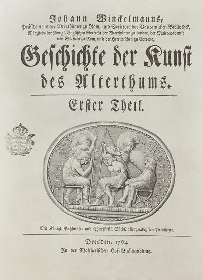 """""""Geschichte der Kunst des Alterthums"""", Erster Theil, Titelblatt mit Medaillon"""