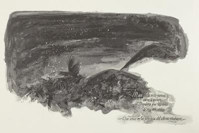 Tropische Landschaft mit Schriftblock eines Gedichtes