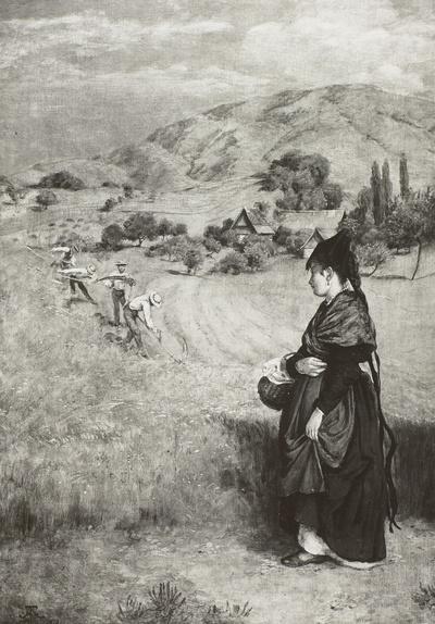 Schwarzwaldlandschaft mit junger Frau und Schnittern